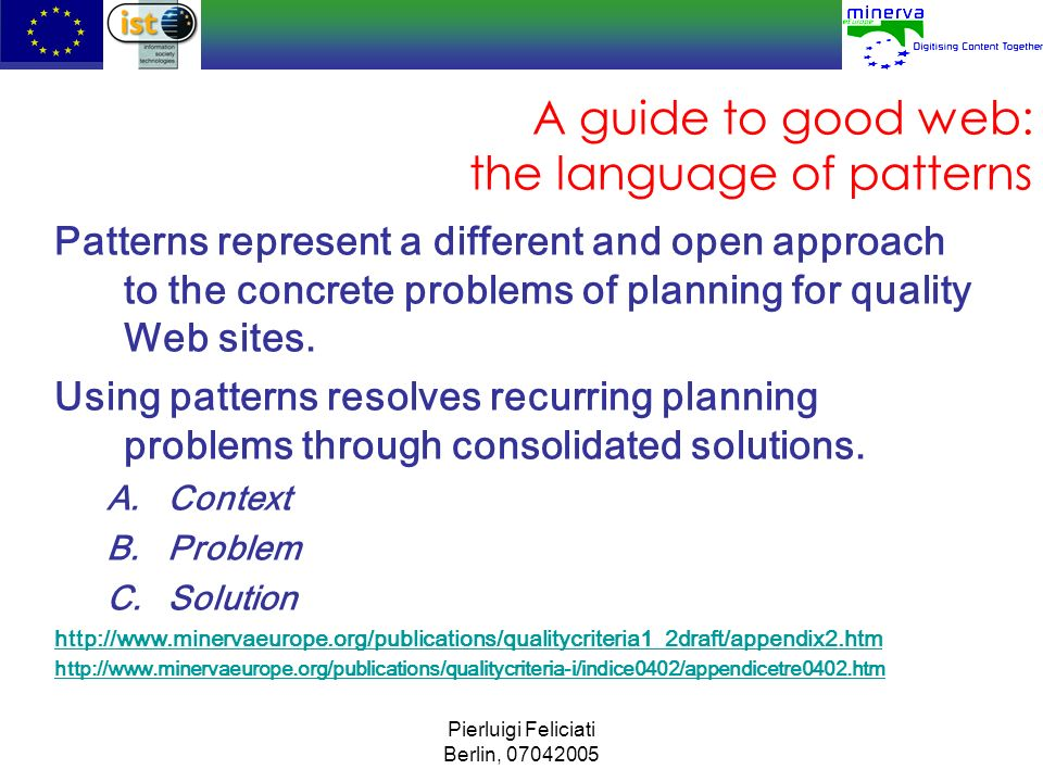 A guide to good web: the language of patterns