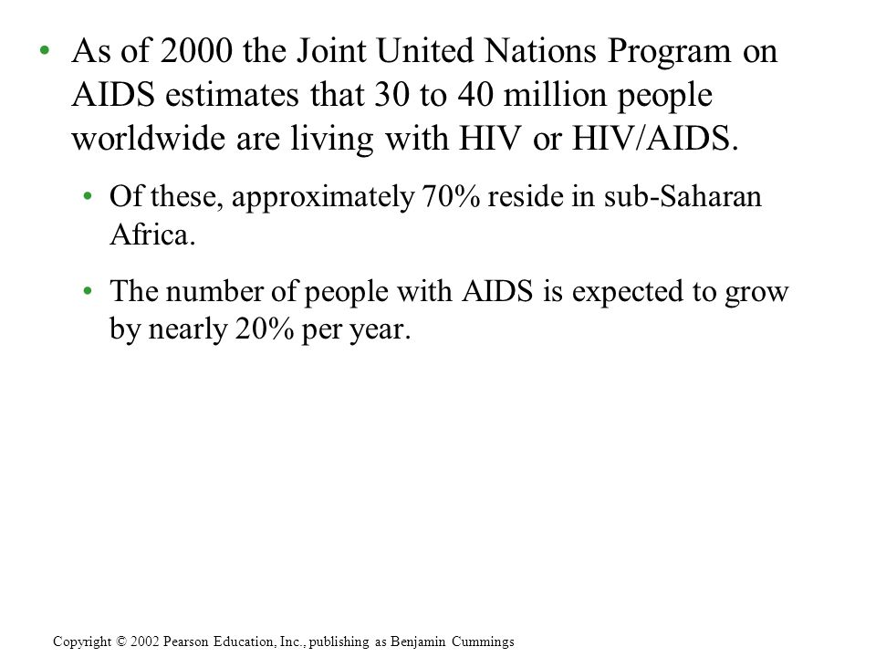 As of 2000 the Joint United Nations Program on AIDS estimates that 30 to 40 million people worldwide are living with HIV or HIV/AIDS.