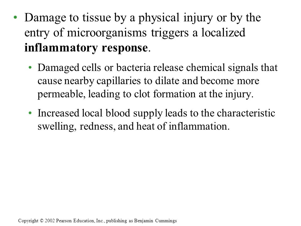 Damage to tissue by a physical injury or by the entry of microorganisms triggers a localized inflammatory response.