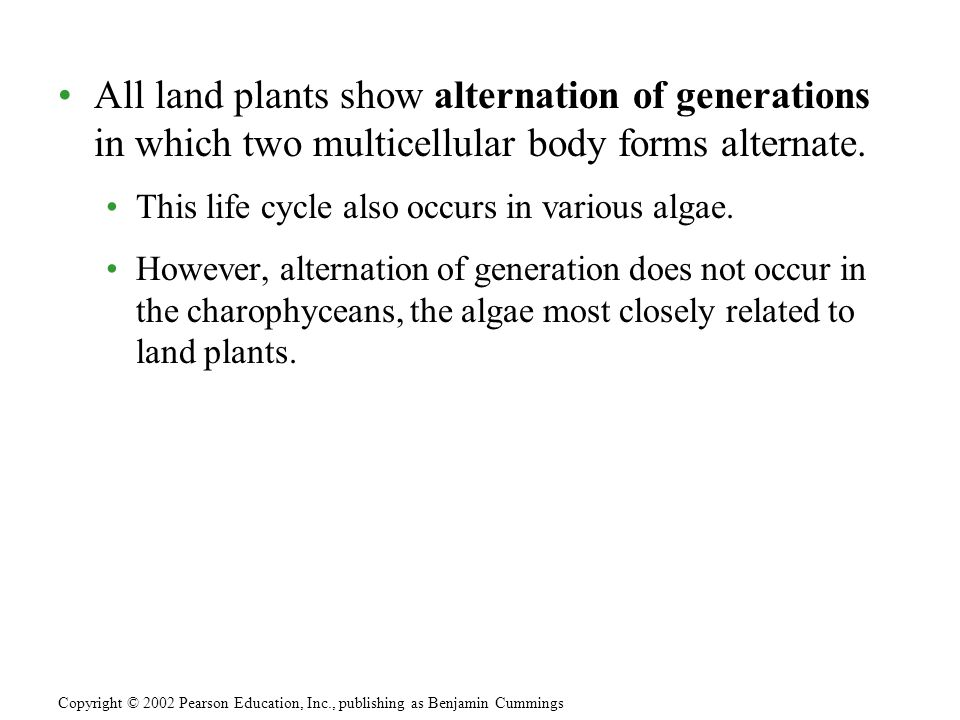All land plants show alternation of generations in which two multicellular body forms alternate.