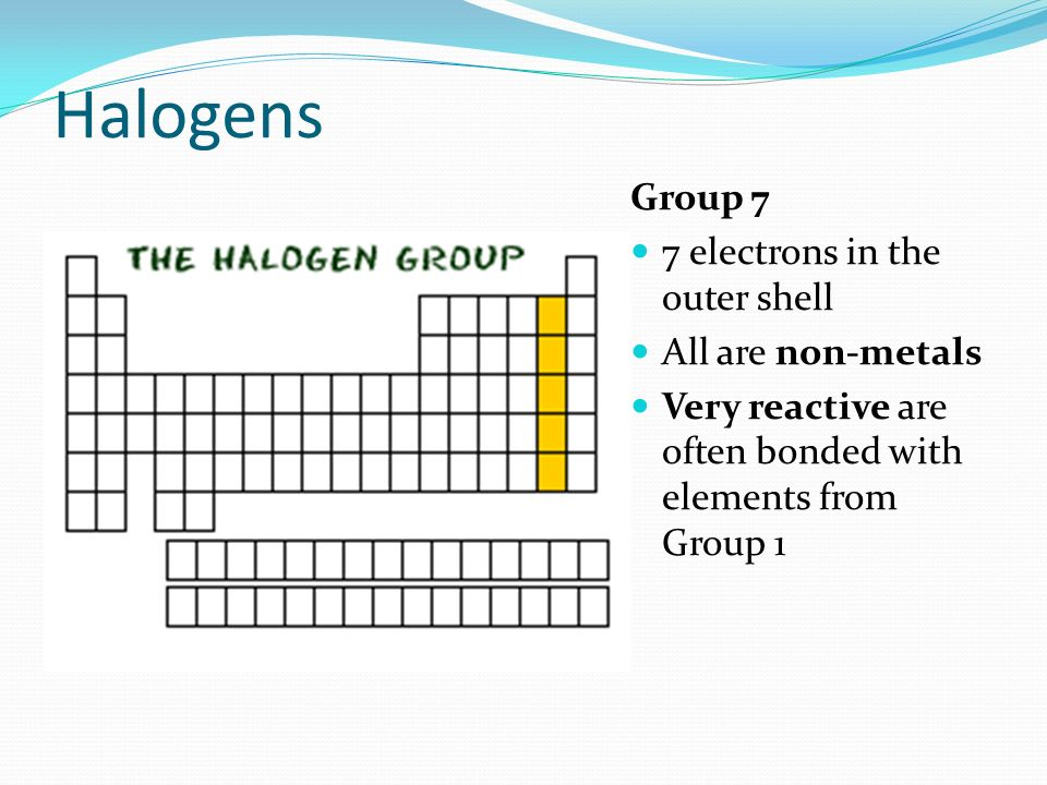 Halogens Group 7 7 electrons in the outer shell All are non-metals