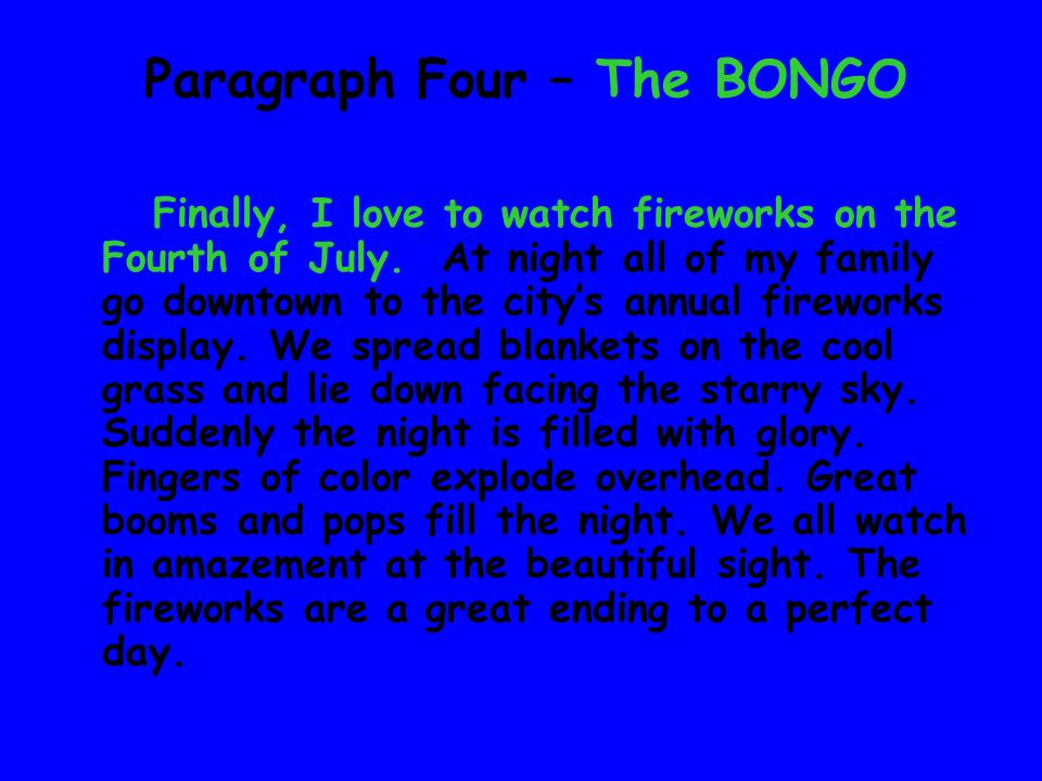 Paragraph Four – The BONGO