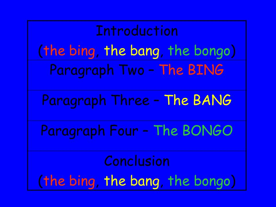 (the bing, the bang, the bongo) Paragraph Two – The BING