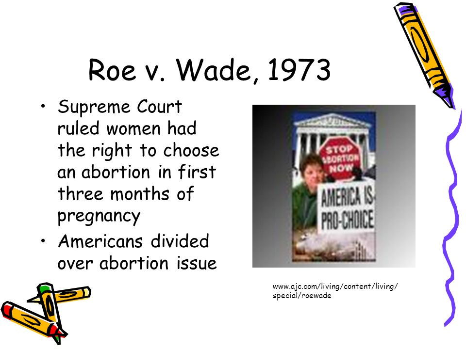 Roe v. Wade, 1973Supreme Court ruled women had the right to choose an abortion in first three months of pregnancy.