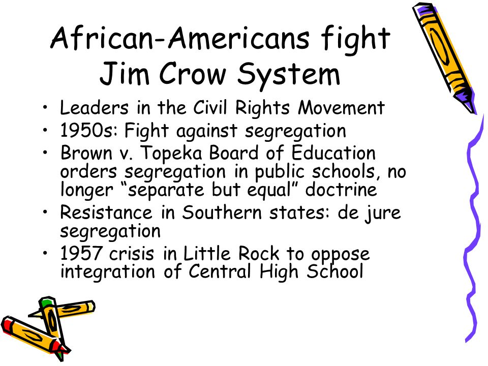African-Americans fight Jim Crow System