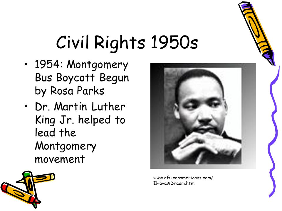 Civil Rights 1950s 1954: Montgomery Bus Boycott Begun by Rosa Parks
