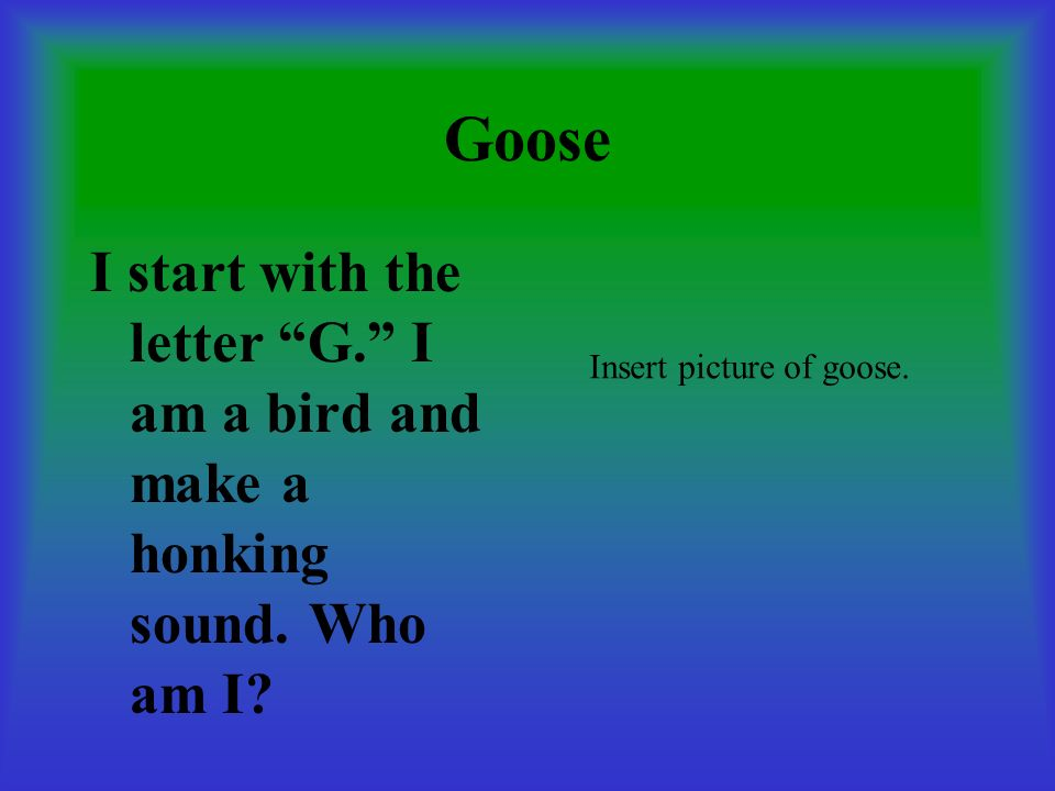Goose I start with the letter G. I am a bird and make a honking sound.