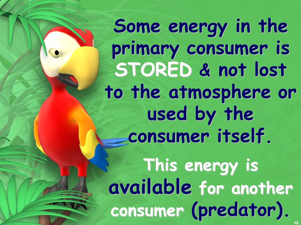 Some energy in the primary consumer is STORED & not lost to the atmosphere or used by the consumer itself.