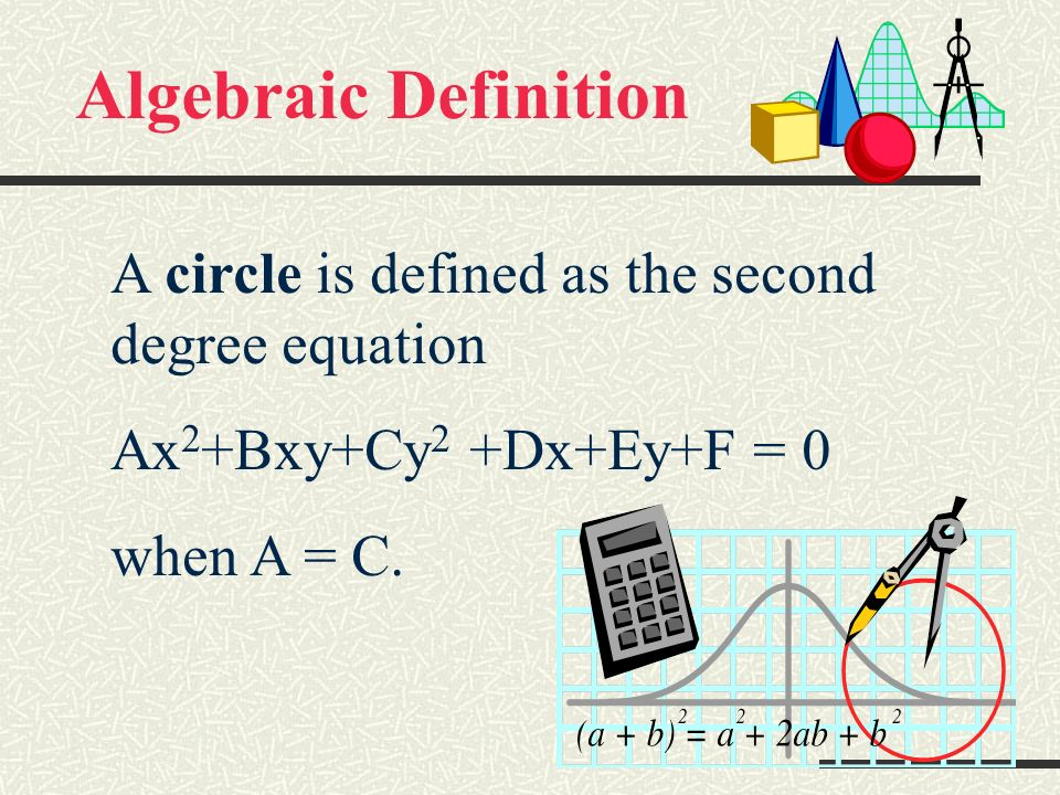 Algebraic Definition A circle is defined as the second degree equation