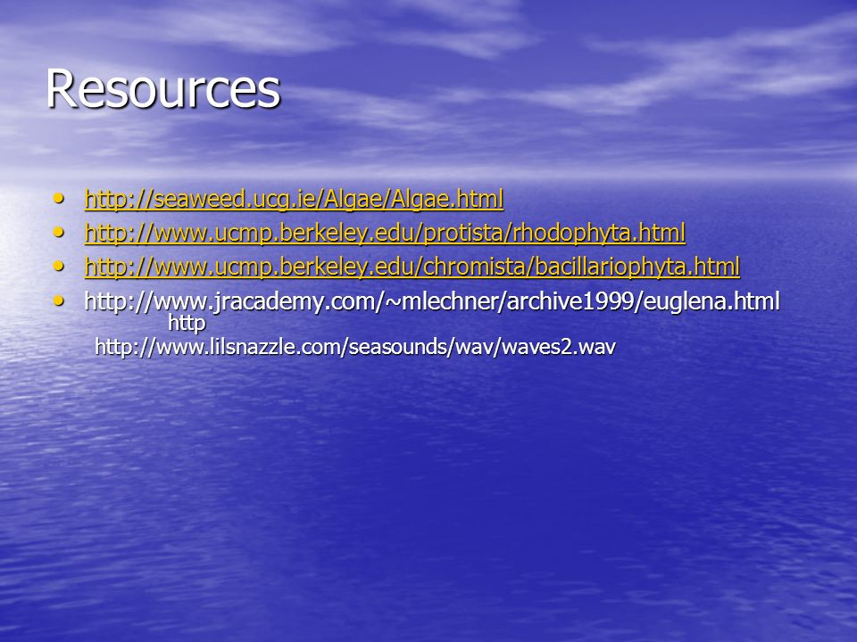 Resources http://seaweed.ucg.ie/Algae/Algae.html