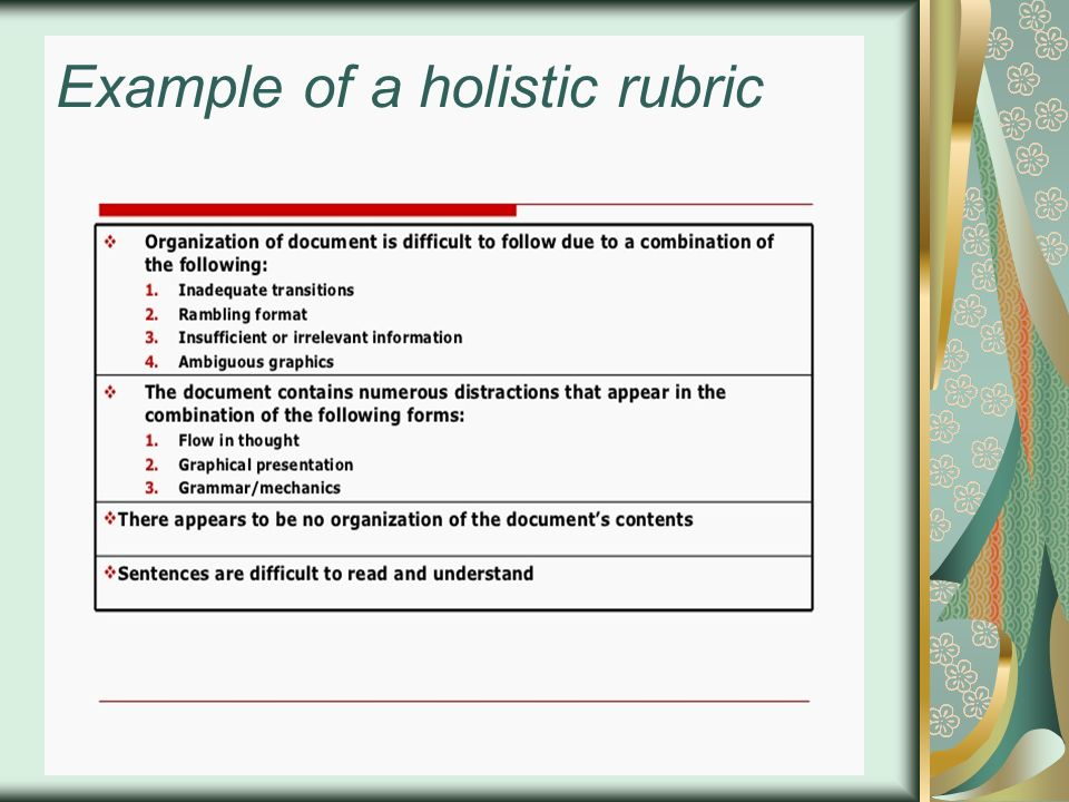 Example of a holistic rubric