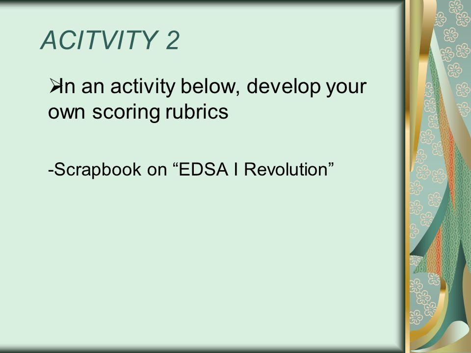 ACITVITY 2 In an activity below, develop your own scoring rubrics