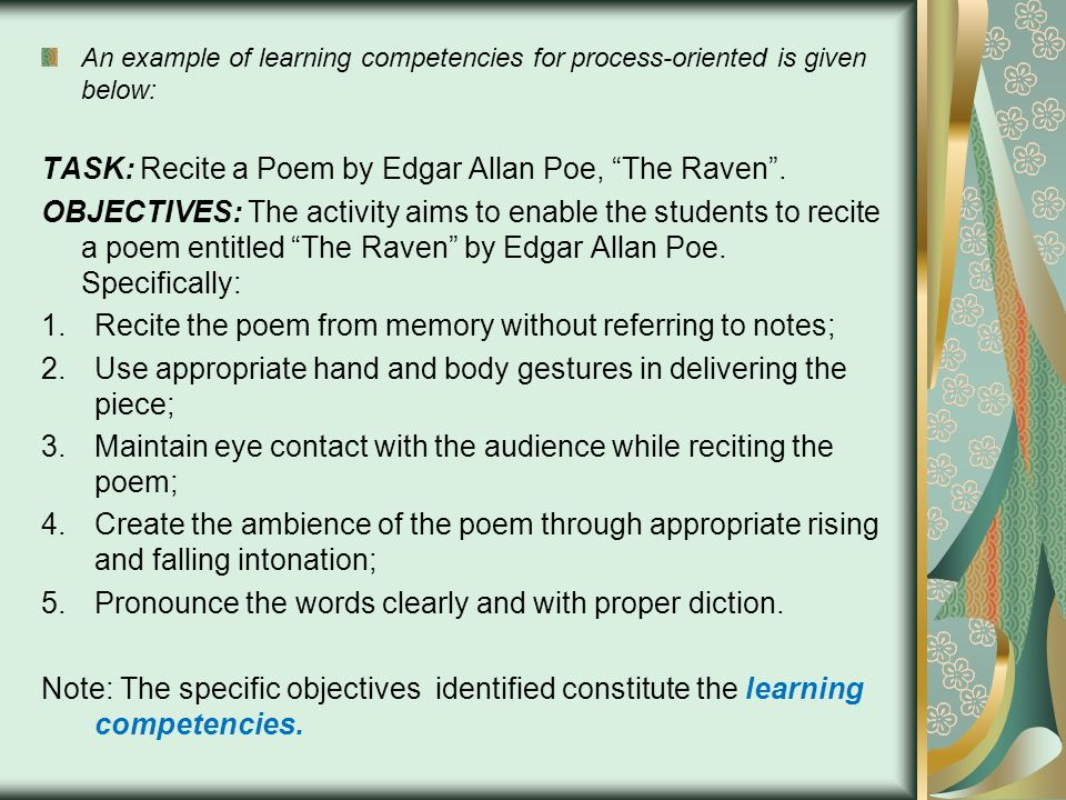 TASK: Recite a Poem by Edgar Allan Poe, The Raven .