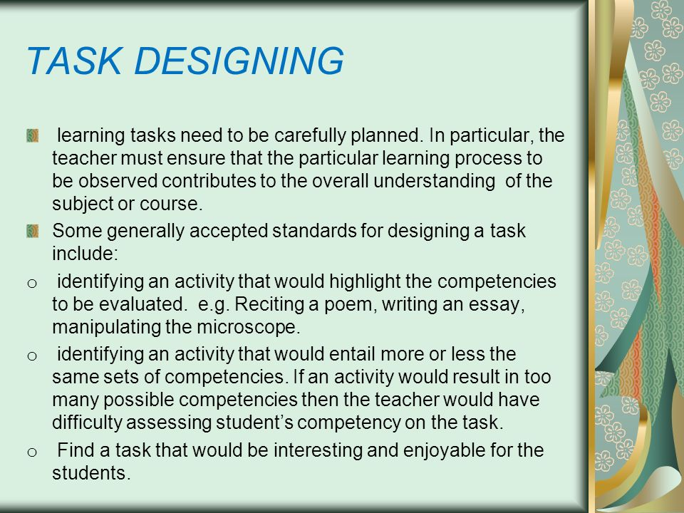 TASK DESIGNING