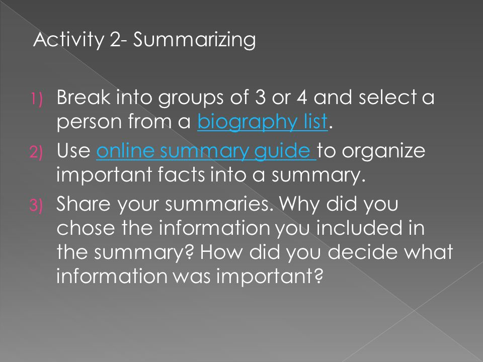 Activity 2- Summarizing