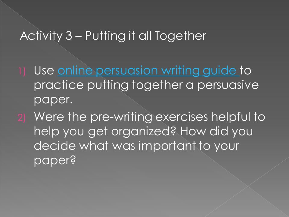Activity 3 – Putting it all Together