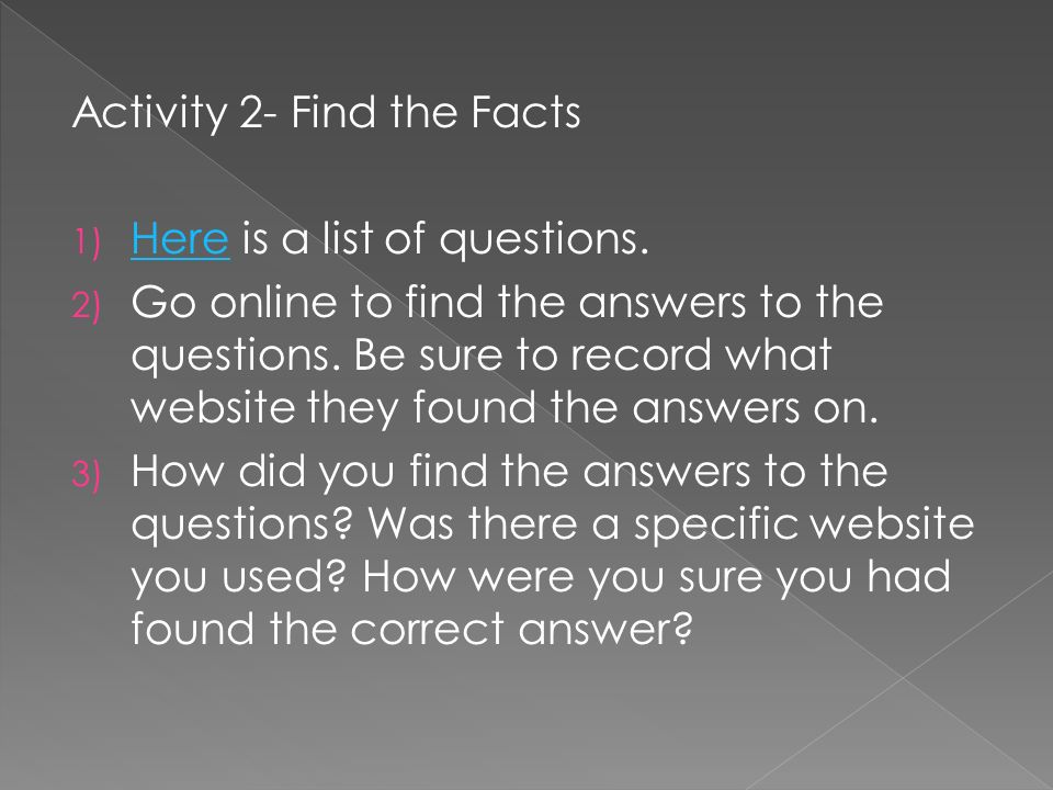 Activity 2- Find the Facts