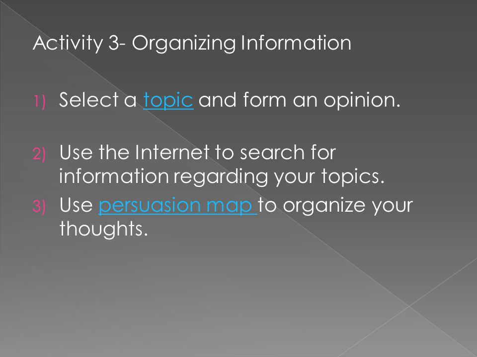 Activity 3- Organizing Information