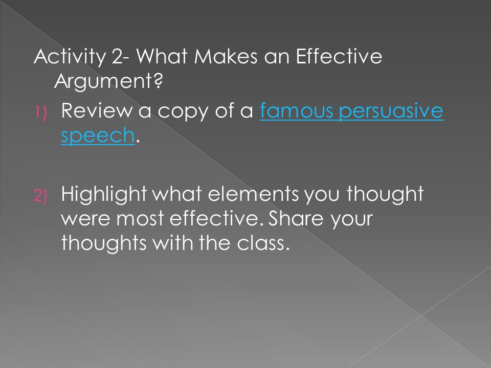 Activity 2- What Makes an Effective Argument