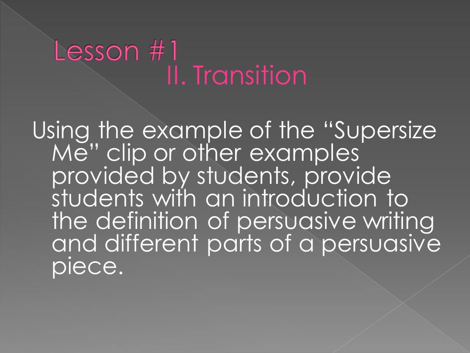 Lesson #1 II. Transition.
