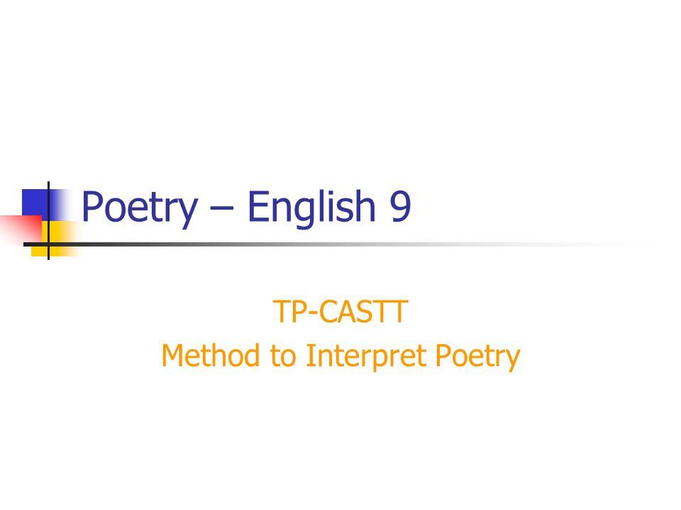 TP-CASTT Method to Interpret Poetry