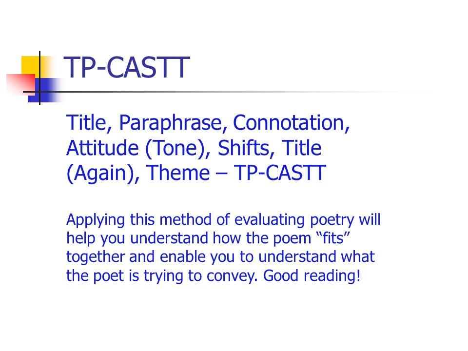 TP-CASTT Title, Paraphrase, Connotation, Attitude (Tone), Shifts, Title (Again), Theme – TP-CASTT.