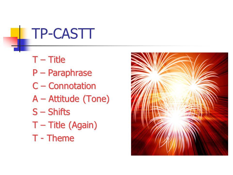 TP-CASTT T – Title P – Paraphrase C – Connotation A – Attitude (Tone)