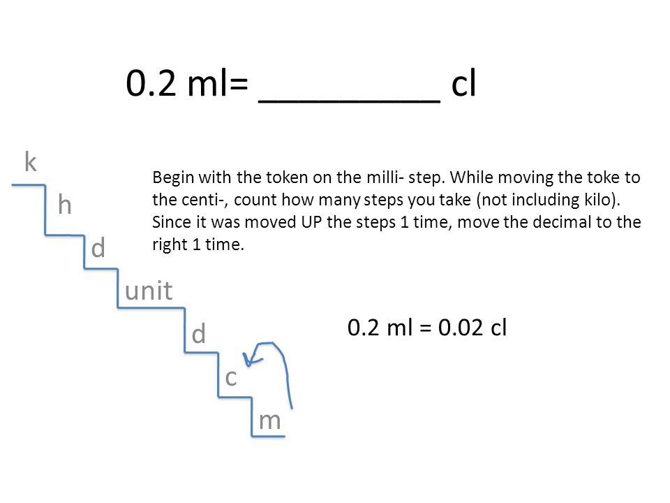 0.2 ml= _________ cl k h d unit c m 0.2 ml = 0.02 cl