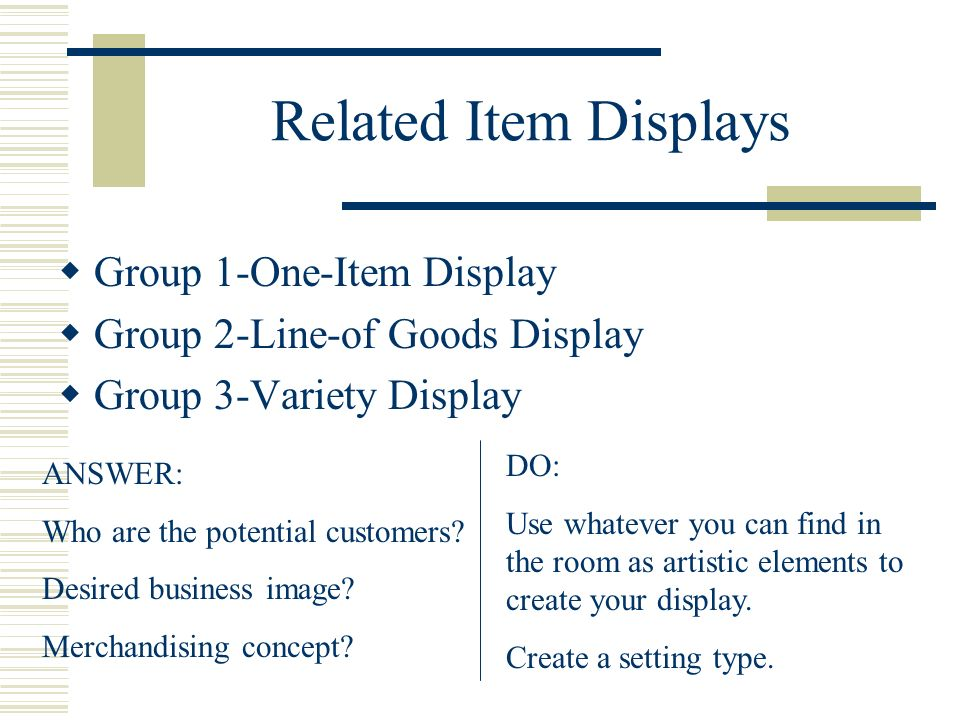 Related Item Displays Group 1-One-Item Display