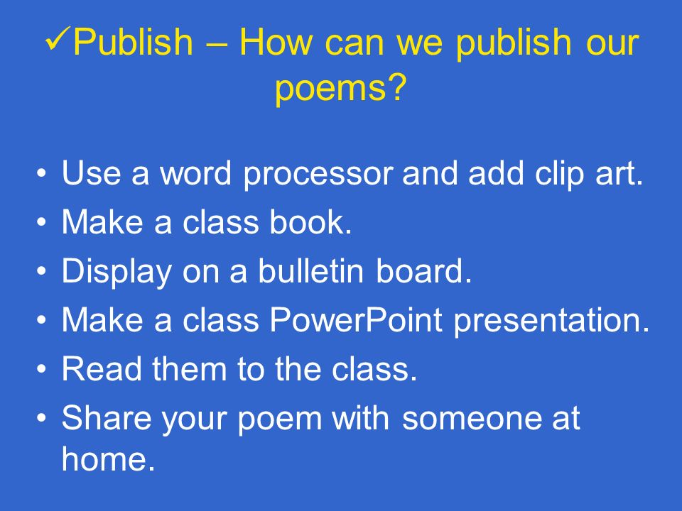 Publish – How can we publish our poems