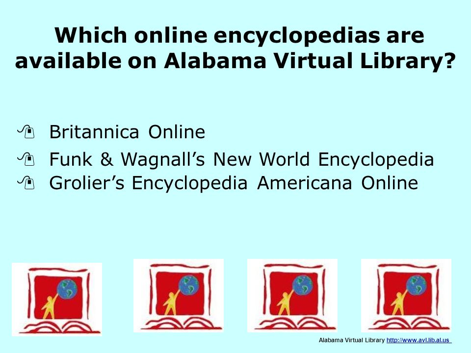 Which online encyclopedias are available on Alabama Virtual Library