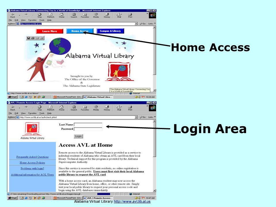 Home Access Login Area. If you are at home you will need an access card. If you do not have one see the librarian.