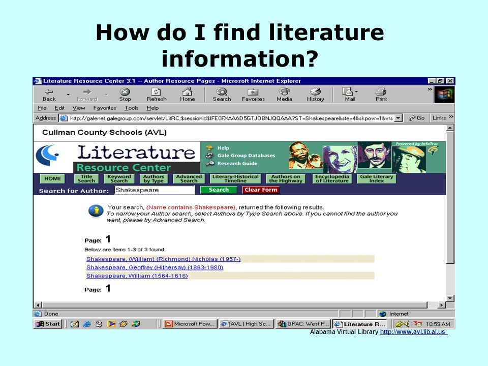 How do I find literature information