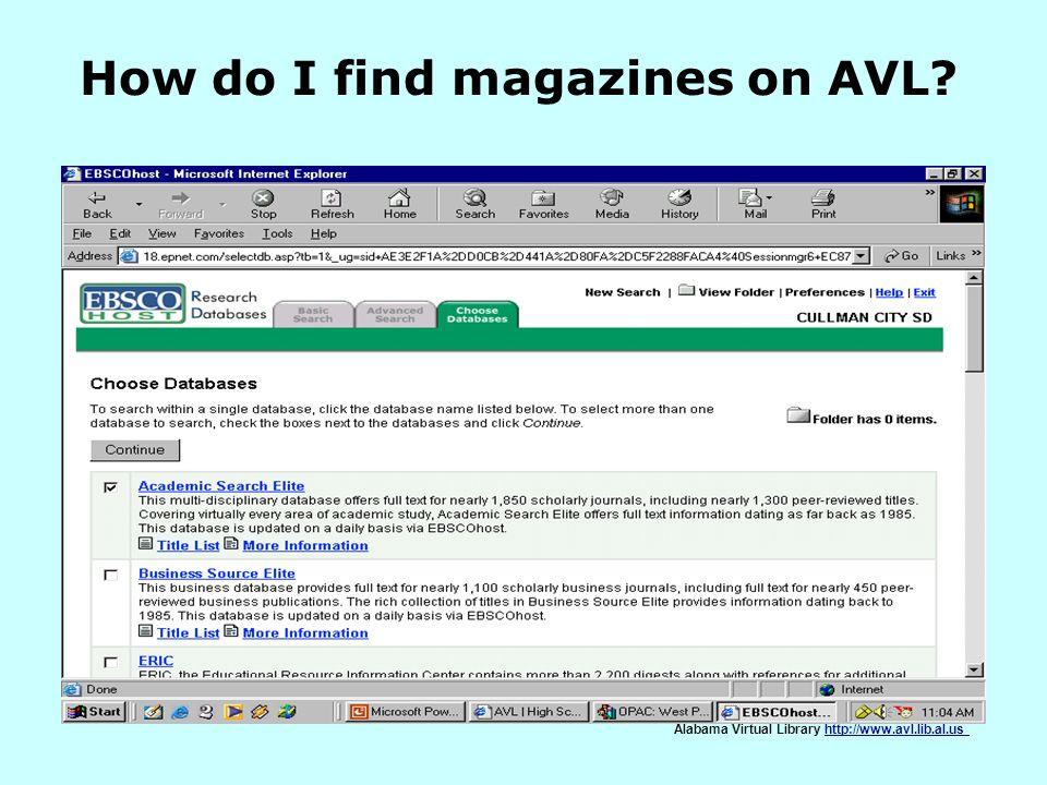 How do I find magazines on AVL
