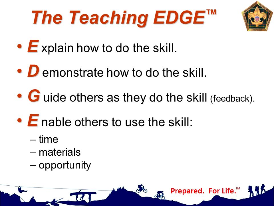 The Teaching EDGE™ E xplain how to do the skill.