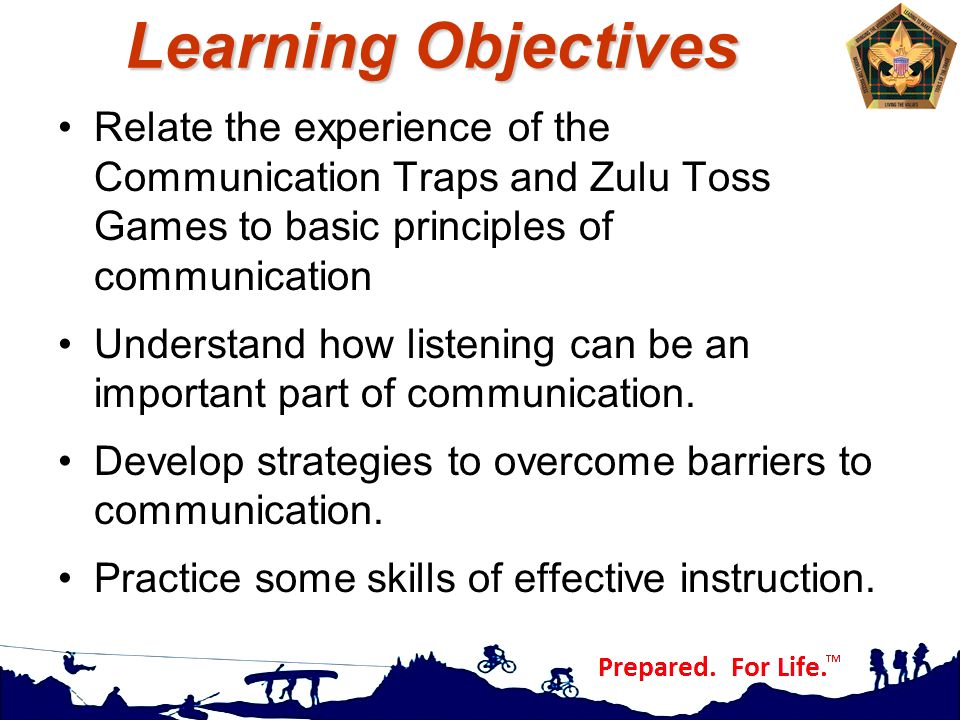 Learning Objectives Relate the experience of the Communication Traps and Zulu Toss Games to basic principles of communication.