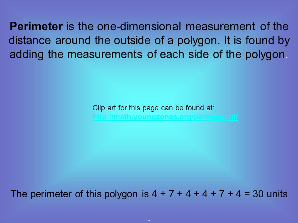 The perimeter of this polygon is = 30 units