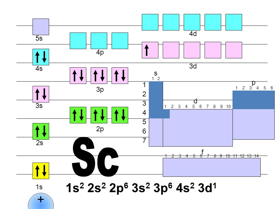 Sc 1s2 2s2 2p6 3s2 3p6 4s2 3d1 + 4d 5s 4p 3d 4s s p 1 3p 2 d 3 3s 4 5