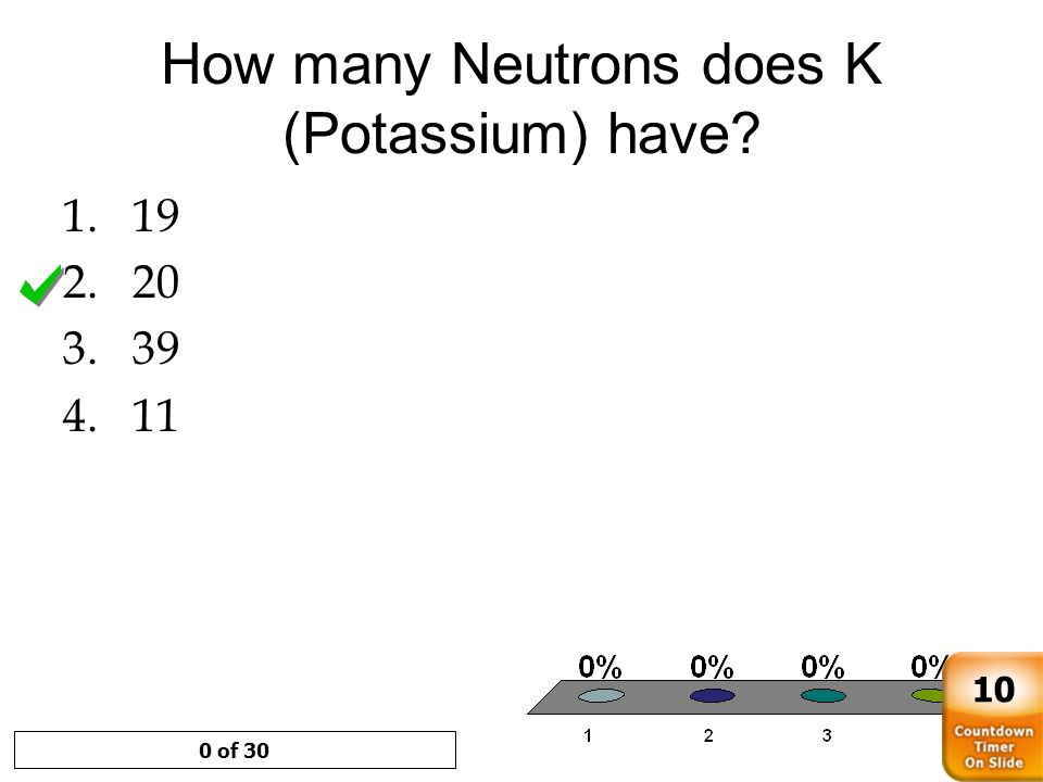 How many Neutrons does K (Potassium) have