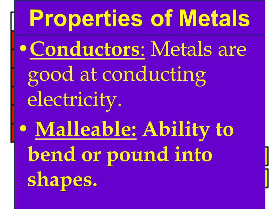 Properties of Metals Conductors: Metals are good at conducting electricity.