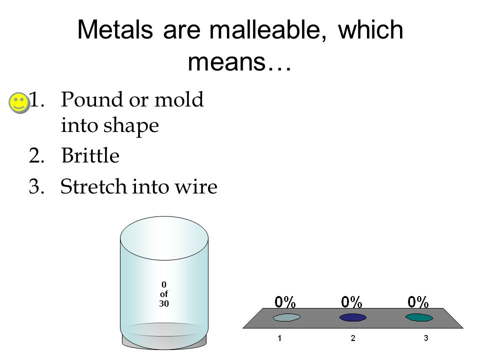 Metals are malleable, which means…
