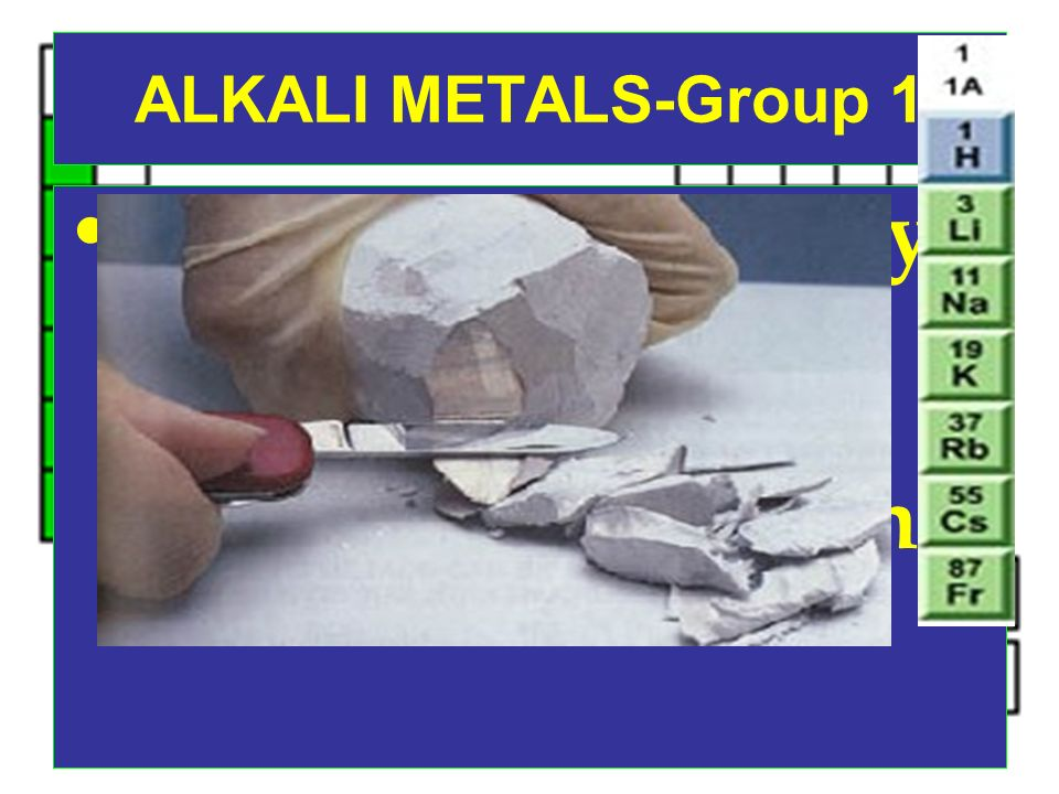 ALKALI METALS-Group 1 So reactive that they are never found isolated in nature, only combined with other elements.