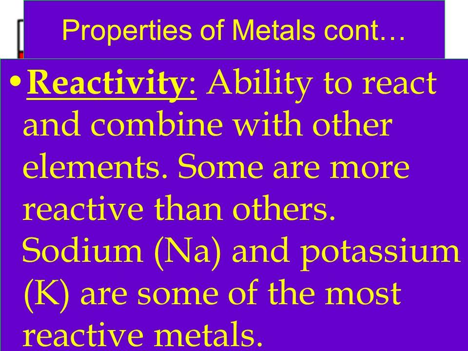 Properties of Metals cont…