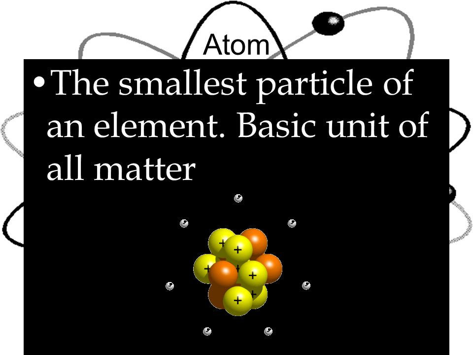 The smallest particle of an element. Basic unit of all matter