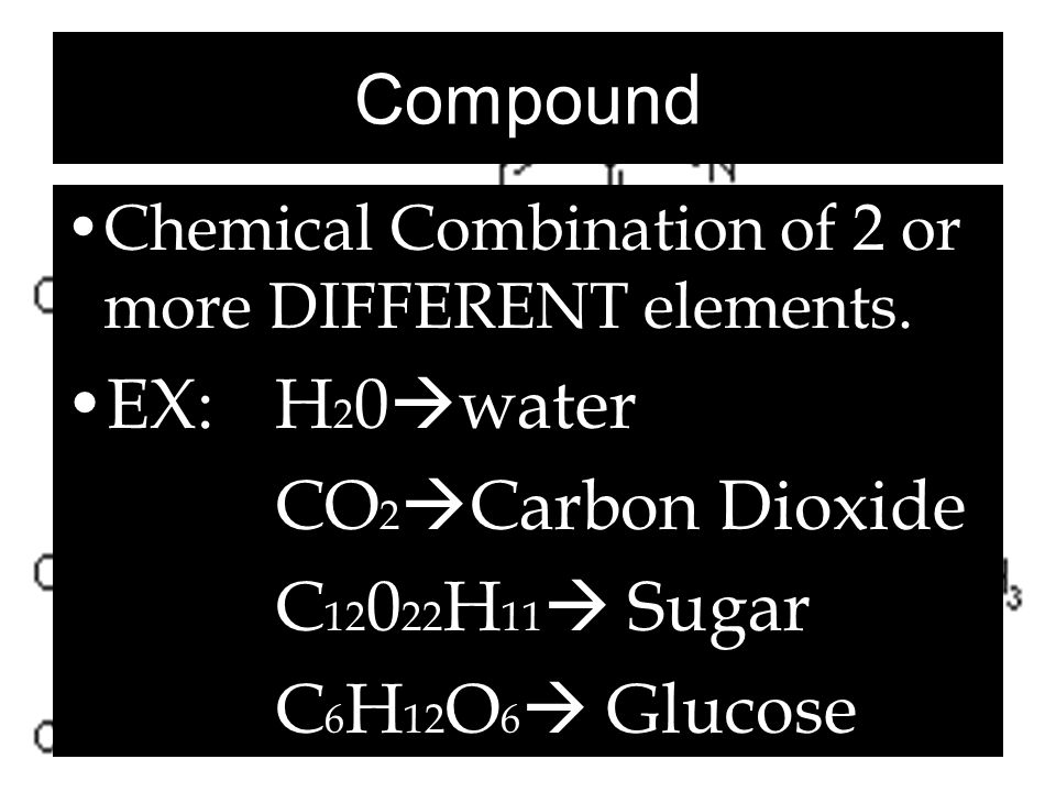 Compound EX: H20water CO2Carbon Dioxide C12022H11 Sugar