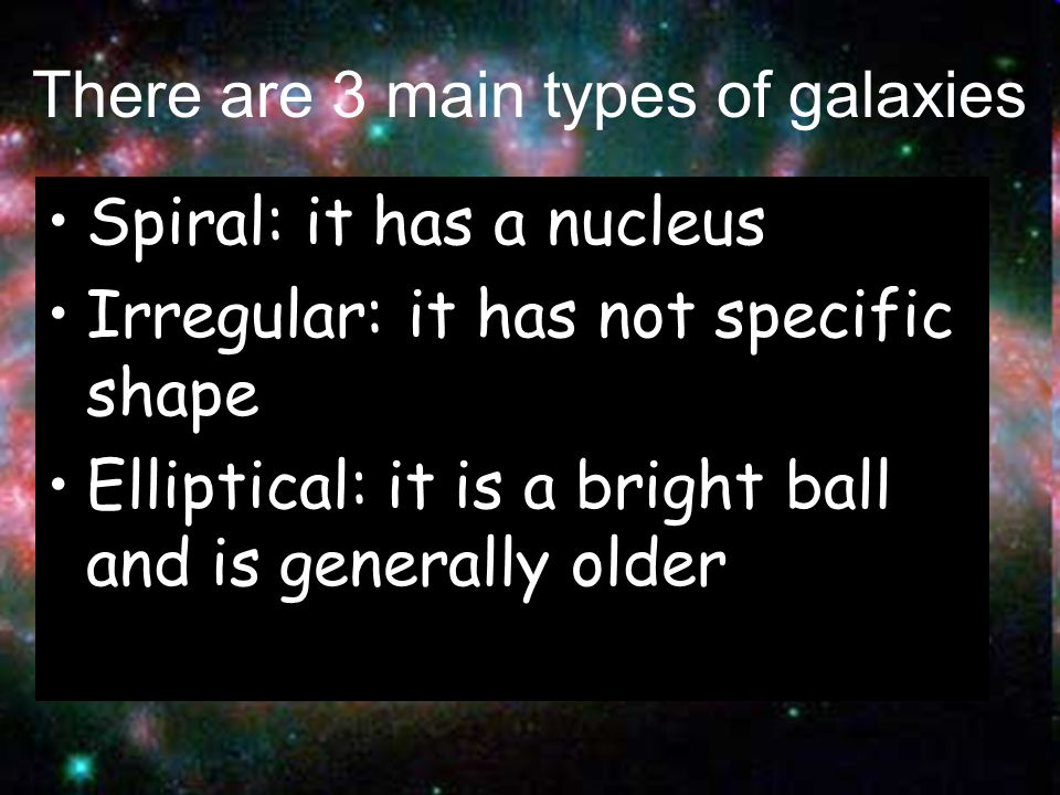 There are 3 main types of galaxies