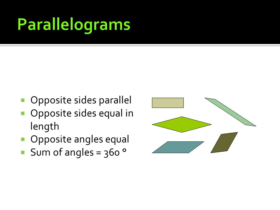 Parallelograms Opposite sides parallel Opposite sides equal in length