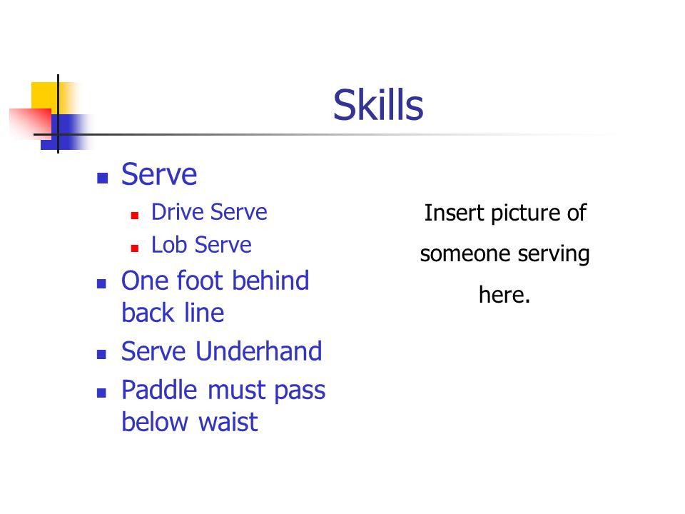 Skills Serve One foot behind back line Serve Underhand