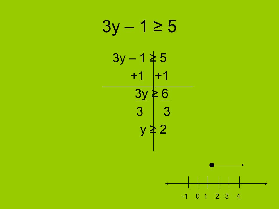 3y – 1 ≥ 5 3y – 1 ≥ 5 +1 +1 3y ≥ 6 3 3 y ≥ 2 -1 0 1 2 3 4