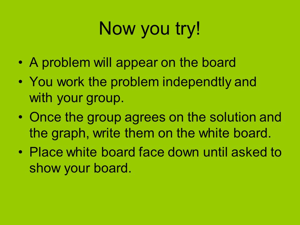 Now you try! A problem will appear on the board
